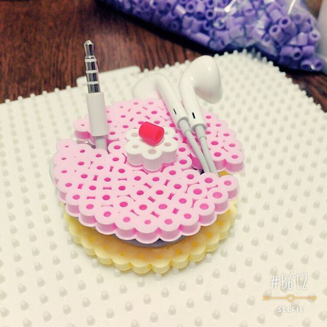 Cake earbud holder perler beads by mi_ho0206
