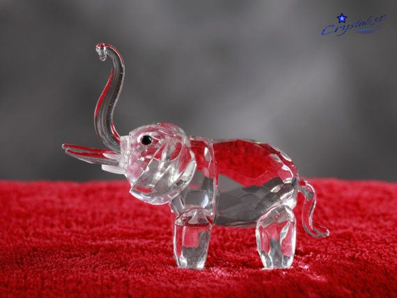 Crystal elephant Crystal figurine Trunk up by Crystals3DEngraving