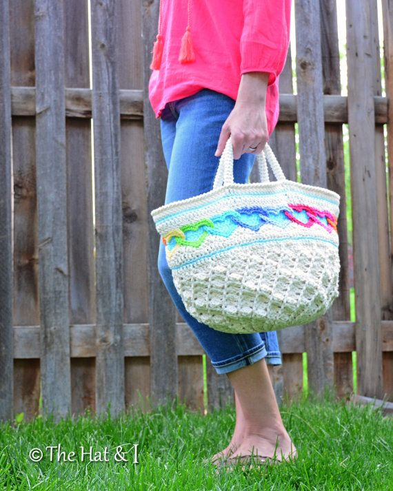CROCHET PATTERN Have a Heart Tote a colorful door TheHatandI