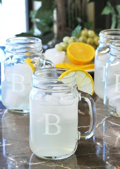 Personalized Old Fashioned Drinking Jars --- Cute idea. You find the glasses