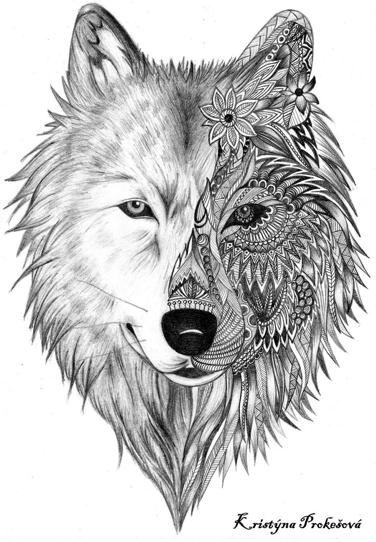 Wolf Tattoo Zentalnge Mandala