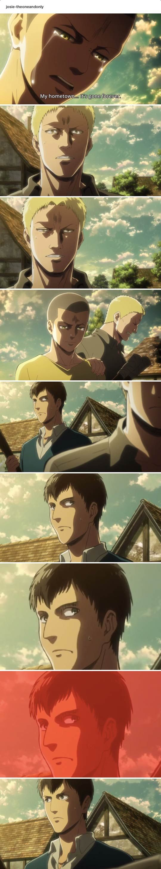 Bertholdt: HOW. DARE. YOU. NOT. LOVE. ME. I LOVE YOU REINER!!! Oh look a butterfly