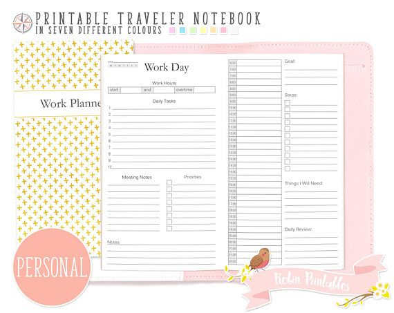 Personal Work Day Traveler Notebook Refill. Printable TN PDF Download. Priorities Daily Tasks Goals Work Schedule Inserts by RobinPrintables