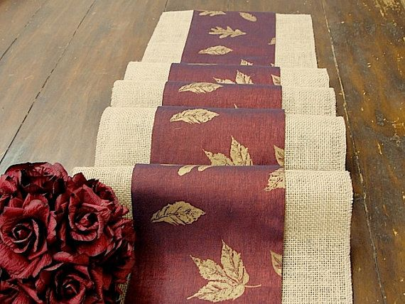 Burlap Table Runner, Thanksgiving Table Runner, Rustic Table Runner,  Handmade In The USA