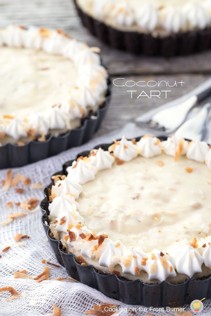 The best Old Fashioned Coconut Cream Tart - no bake from Cooking on the Front Burner