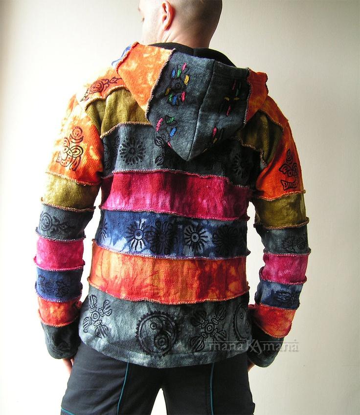 Cotton Knitted Rainbow Patchwork Jacket - Pixie - Hippie - Men - Women - Pointed Hood - Polar Lining - Warm - Fleece Lined- Rainbow Clothing. $83.00, via Etsy.