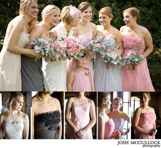 Cream, Pink, and Purple Bridesmaid Dresses!: Pink Wedding, Difference Bridesmaid Dresses, Purple Bridesmaid Dresses, Grey Wedding, Bride Maids Dresses, Gray Bridesmaid, Colors Schemes, Charcoal Bridesmaid Dresses, Pink And Gray