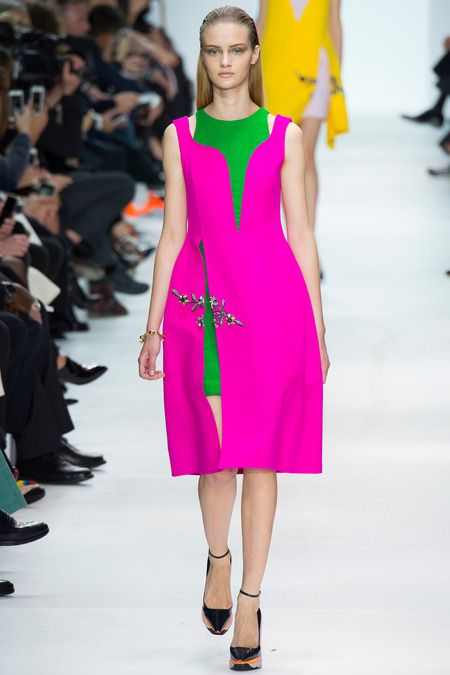Dior Pink/Green Embroidered Dress - Fall 2014 Runway