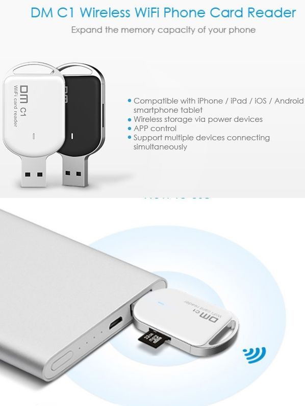 DM C1 WFD011 Wireless WiFi Card Reader for Smartphones and  Tablet PC