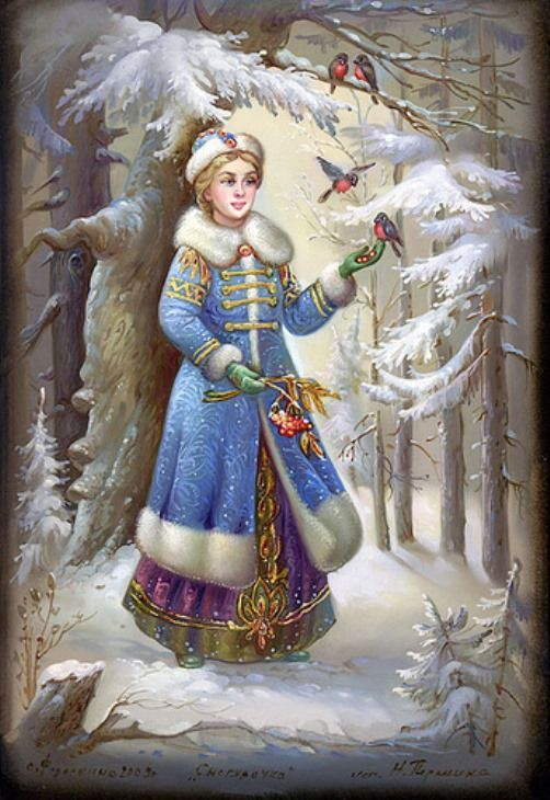 Father Frost fairy tale - Fedoskino miniature