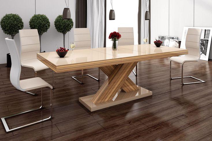 Nowoczesny stół, rozkładany, wysoki połysk - Xenon, Hubertus, cappucino