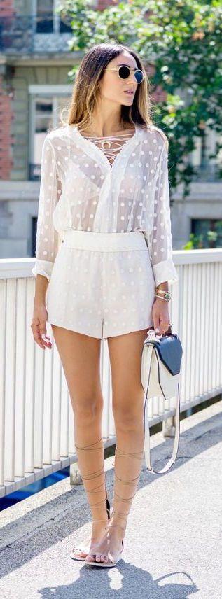 #summer #fashion / polka dot white