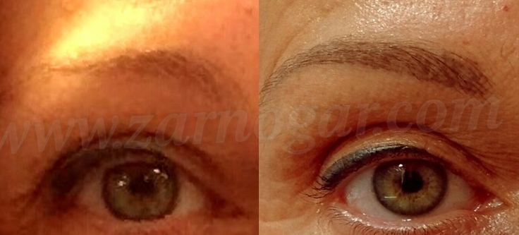 Micropigmentación de cejas. Antes y después.