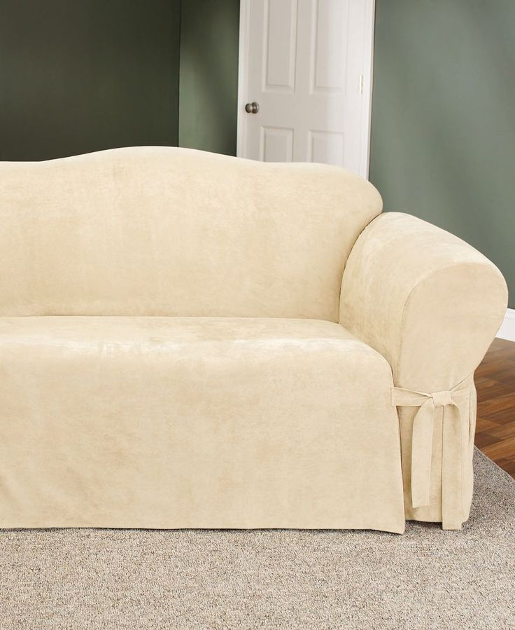 Sure fit soft faux suede loveseat slipcover shops for Beige faux leather sofa slipcovers