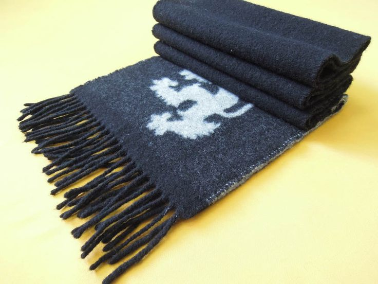 "Pringle Scarf Of Scotland Pure Lambswool Solid Signature Logo Black Vintage Muffler Foulard Shawl Wrap Made In Scotland 67"" X 9.5"" by InPersona on Etsy"