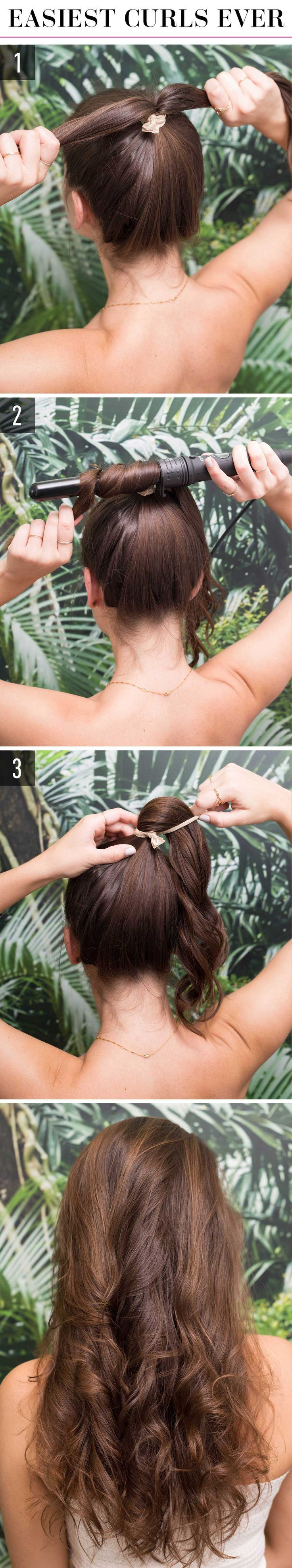1.Secure your hair in a high pony and split the tail in half. 2.Wrap the first half over and around a 1-inch curling wand for 10 seconds or less, depending on how easily your hair curls. Repeat with the second half. 3.Let down your ponytail and separate the curls with your fingers.