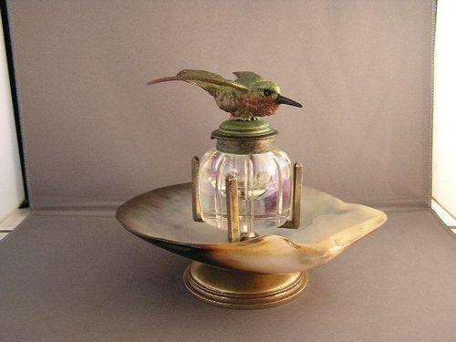 Stunning Vintage Abalone Shell Hummingbird Inkwell | eBay