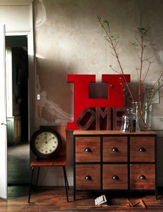 Place oversized piece on a dresser/table rather than hanging. Simple and effective.: Kitchens Design, Decor Ideas, Home Signs, Big Letters, Architecture Interiors, Design Interiors, Home Interiors Design, Design Kitchens, Giant Letters