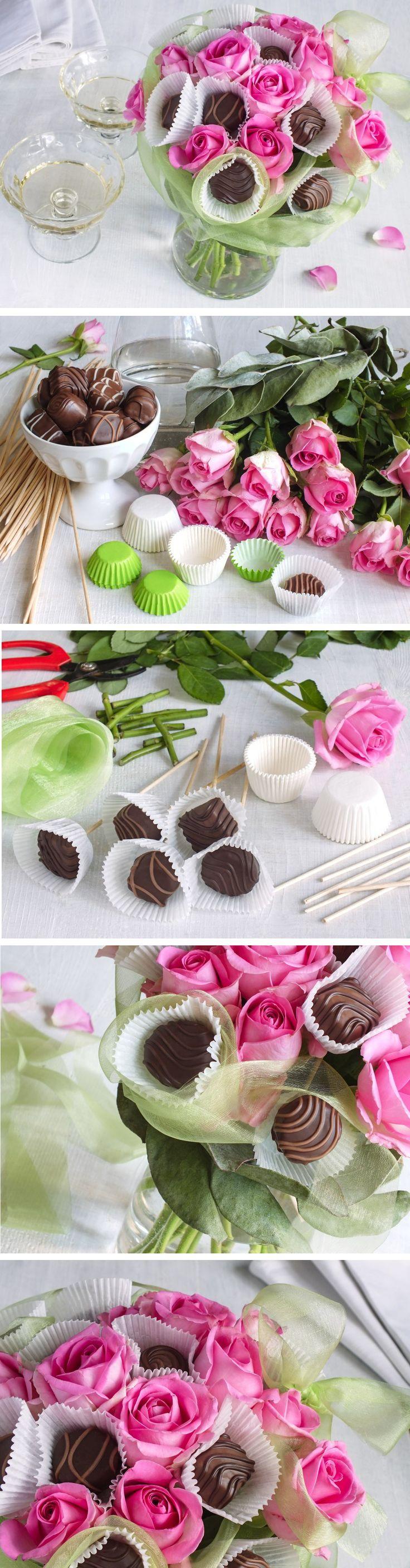 Rafinované spojení dvou dárků - květin a čokolády. Můžete přidat i novou vázu, ve které je celá aranž zasazená.