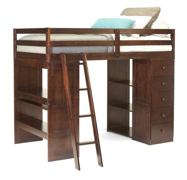 This affordable Twin Loft Bed is ideal for every kid big enough to climb up the ladder. The modern design is sleek and smooth with Espresso finish. This super cool loft bed has space for sleep, study