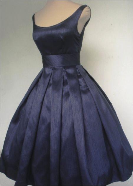 Navy Shantung tea length 50s style dress, made to order!