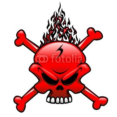 #Red #Fire #Skull #Clip_Art #Tattoo-#Vector © bluedarkat #48569723     http://us.fotolia.com/id/48569723