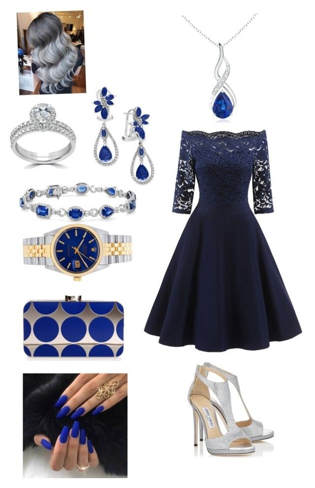 """""""Untitled #4"""" by gaulosaturne on Polyvore featuring Bliss Diamond, Jimmy Choo, Blue Nile, Effy Jewelry, Rolex and Manolo Blahnik"""