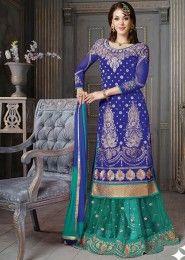 Wedding Wear Silk Blue Antique Work Lehenga Suit