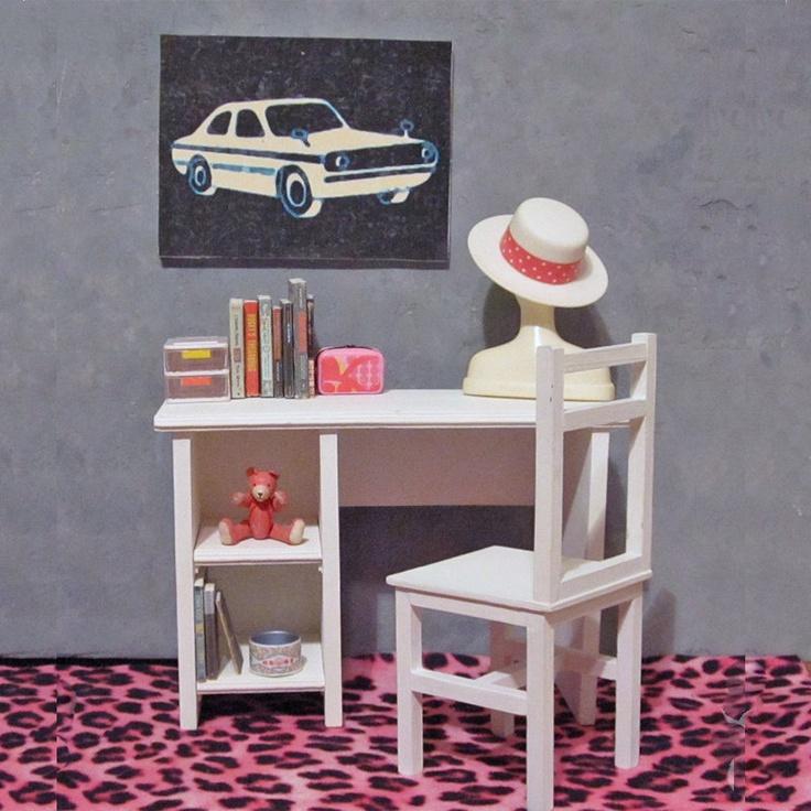 Aspen White Study Desk with Tackboard : 1/6 Scale Furniture. $115.00, via Etsy.