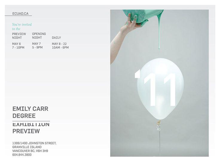 Emily Carr Exhibition—Vancouver design studio school graduation exhibition invitation design