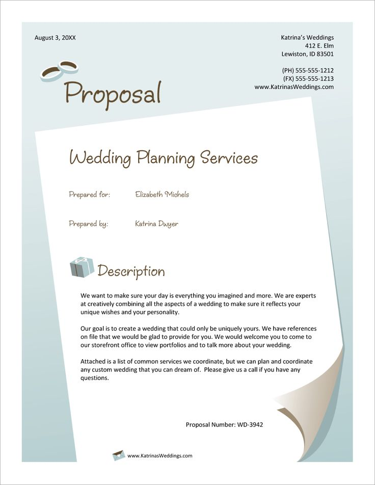 Wedding Planner Services Sample Proposal Event planning