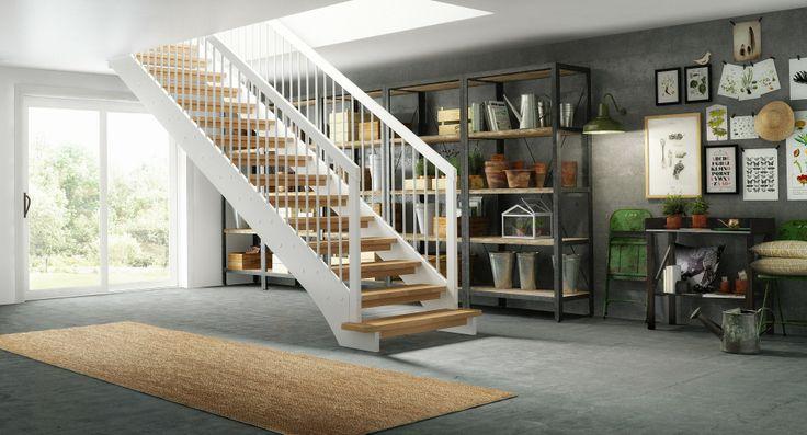 Aks ́ rene og åpne linjer fremhever trappens enkelhet der den strekker seg i en rett linje mellom etasjene. Stramme linjer kombinert med runde spiler gjør trappen både tøff og varm i uttrykket. Aks er her vist som en rett trapp med som gjør den lett å plassere i hvilket som helst rom.