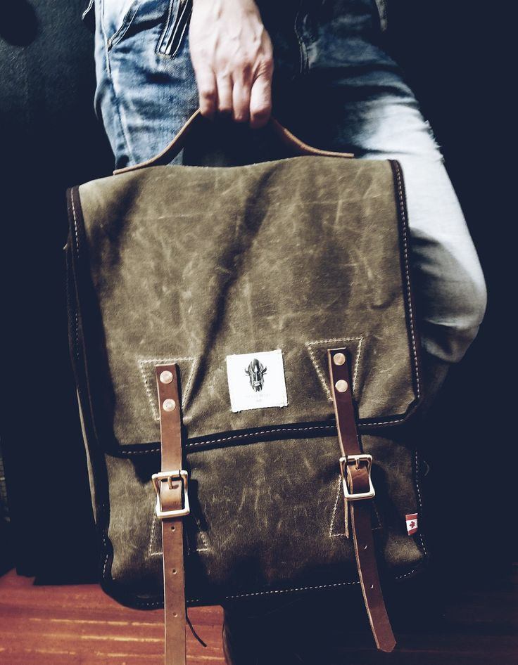 Mountain Jumper Waxed Canvas Backpack.