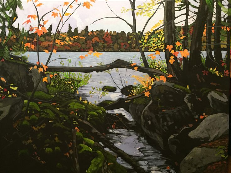 Small Stream,  Painting of a lake in Nova Scotia by Jeremy Vaughan 40X 52
