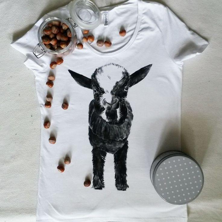 Koszulka ręcznie malowana z kozą, hand painted t-shirt goat
