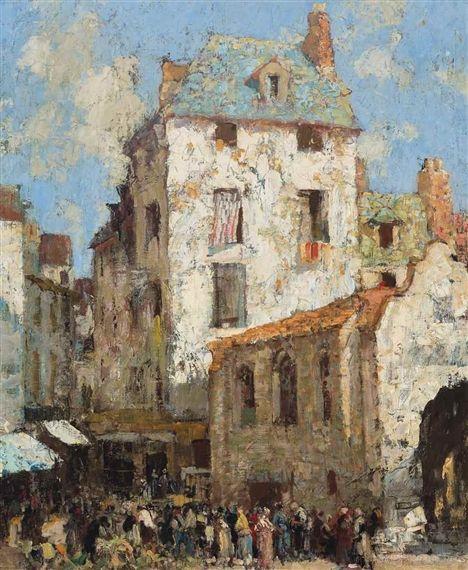 William Lee-Hankey  Market at Beaune  oil on canvas  24 x 20 in. (60.9 x 50.8 cm.)