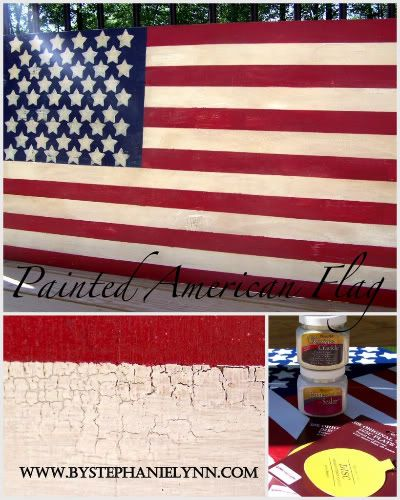 Under The Table and Dreaming: Painted American Wooden Flag: Diy Flags, Wooden Flags, American Flags, Blue, American Wooden, Crackle Paintings, Paintings American, Wood Flags, Paintings Flags