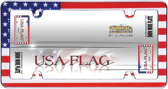 Patriotic USA Flag Car License Plate Frame Accessory