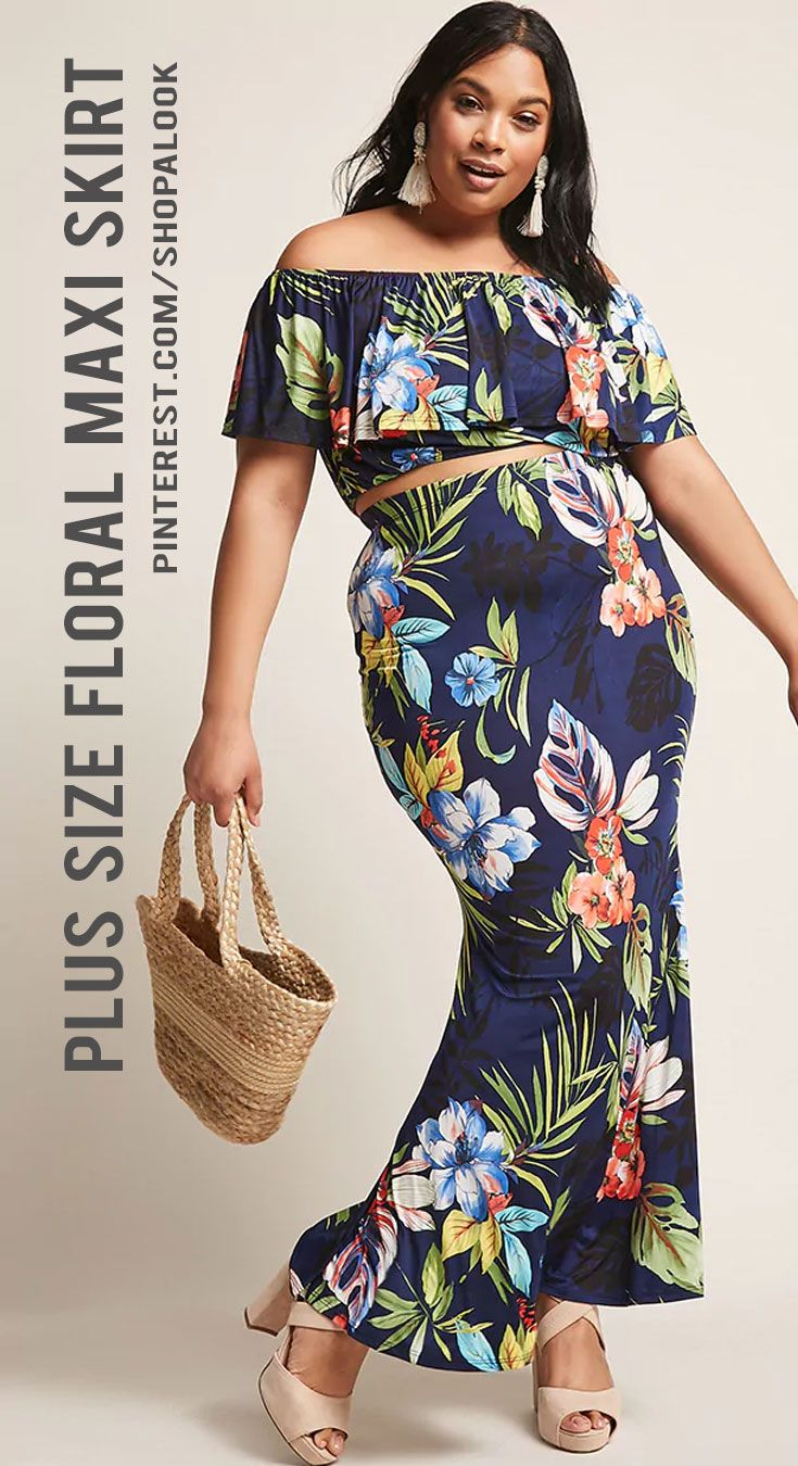 4634b674fe8 FOREVER 21+ Plus Size Floral Crop Top   Maxi Skirt Set  afflink  dress   fashion