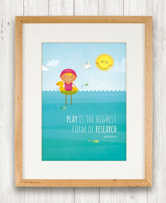 Girl in the sea art print nursery illustration by IreneGoughPrints