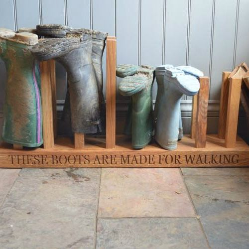 Eight Pair Personalised Oak Welly Boot Rack £260.00 https://www.giftwrappedandgorgeous.com/eight-pair-personalised-oak-welly-boot-rack-22379
