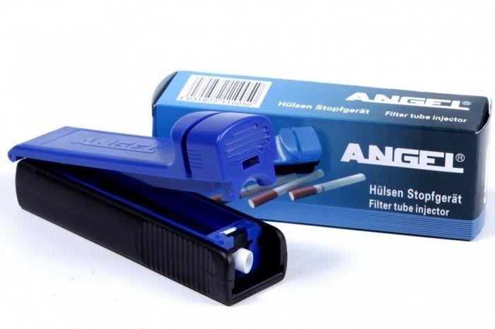 Aparat de injectat tutun Angel - este un aparat manual pentru injectat tutun in tuburi tigari; culoare injector: albastru cu negru; se foloseste pentru tuburi tigari de lungime standard. Nu are spatula/lopatica pentru aranjarea tutunului. Pentru comenzi si alte detalii: www.tuburipentrutigari.ro
