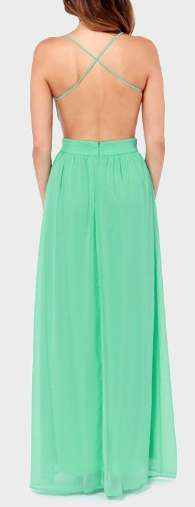 Mint Backless Maxi Dress ♥  I have a current obsession with this style of dress.