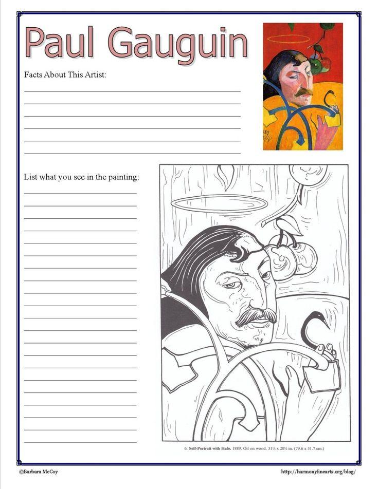 Art history worksheets elementary