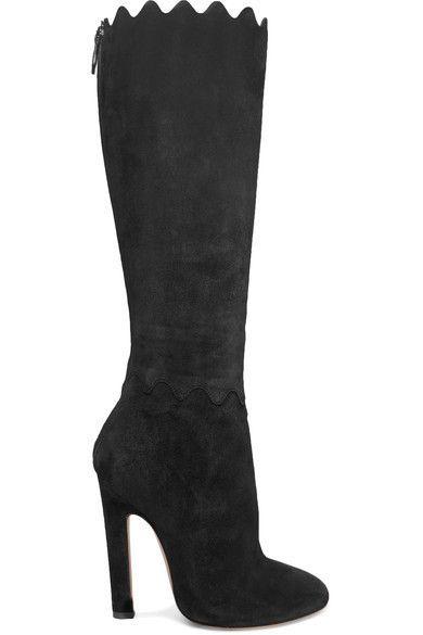 Alaïa   Scalloped suede knee boots   NET-A-PORTER.COM