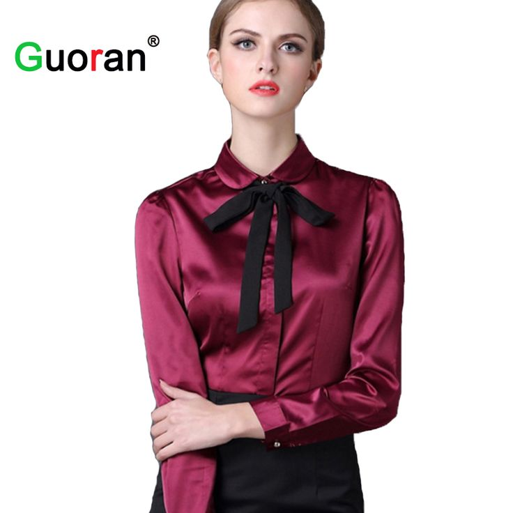 {Guoran} 2017 Blouses For Women Red White Blue Female Formal Office Work Shirts Plus Size 4XL Ladies Tops High Quality Clothing