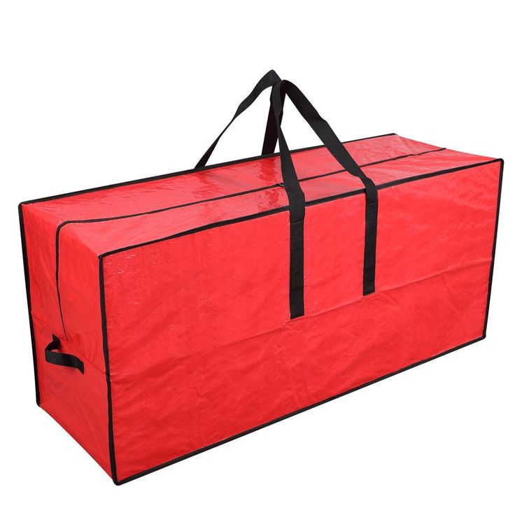 """Primode Artificial Xmas Tree Storage Bag with Handles   45"""" x 15"""" x 20"""" Holiday Tree Storage Case   Protective Zippered Xmas Tree Bag (Red)"""