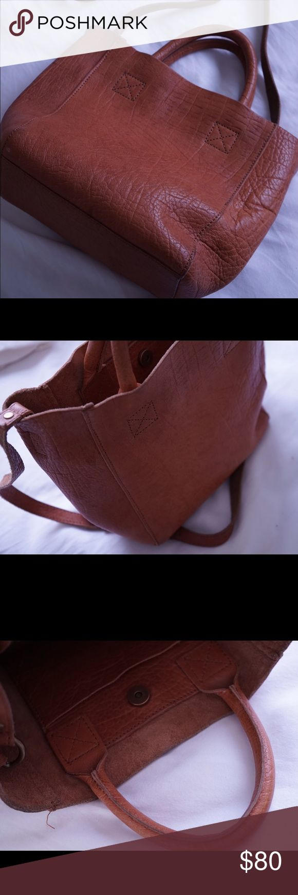 Urban Outfitters BDG Mini Leather Tote Bag Tan Urban Outfitters BDG Mini Soft Leather Tote Bag (used, unlined interior with magnetic snap closure) Urban Outfitters Bags Crossbody Bags