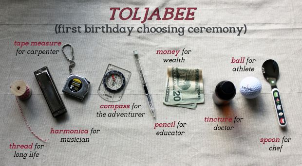 First birthday idea! The toljabee is an old tradition. It's a choosing ceremony done when a child turns one years old. Birthday activity.
