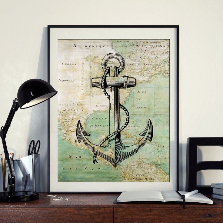 Vintage Map of North America Anchor  Yacht Sailing Ocean Seaside Nautical Poster Instant Download Printable A4 A3 8×10 & 11x14 Wall HQ300dpi by ZikkiArt on Etsy